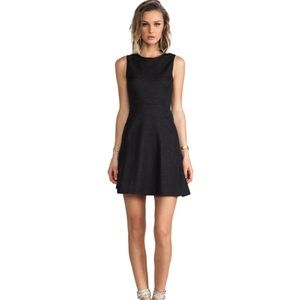 Theory Dark Charcoal Wool Blend Fit & Flare Dress